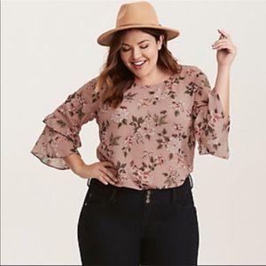 Torrid | blush ruffled bell sleeves sheer blouse